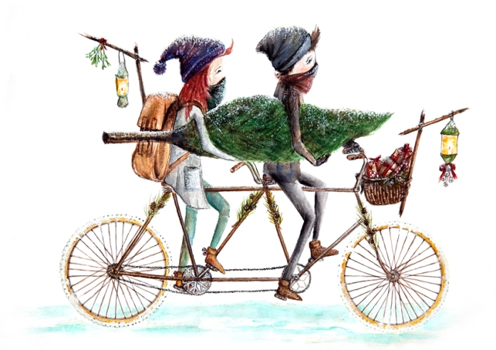 tandem bicycle spreads christmas cheer // detail